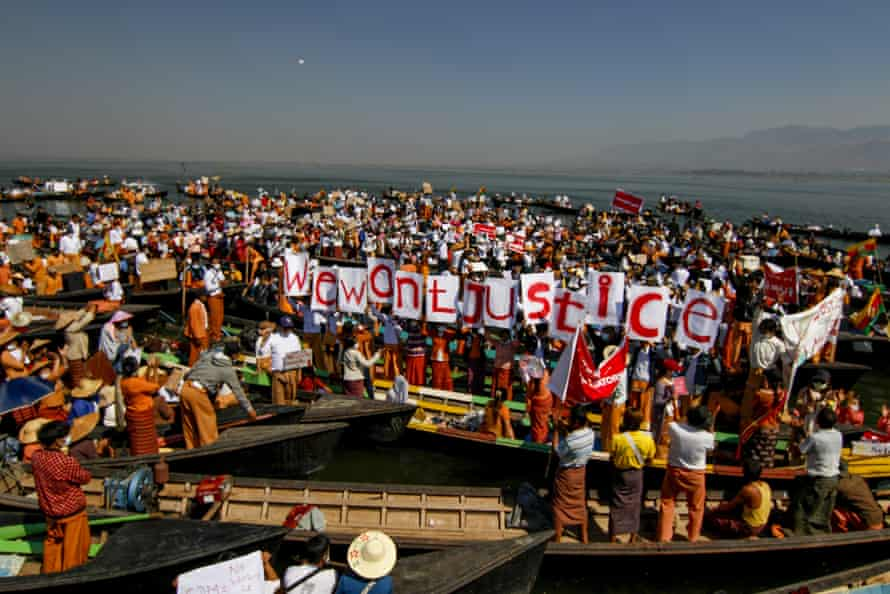 Anti-coup protesters at Inle Lake, Myanmar.