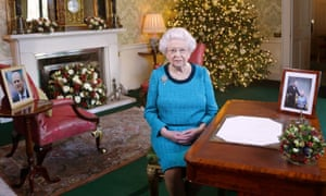 The Queen Elizabeth in the regency room at Buckingham Palace after recording her Christmas Day broadcast.