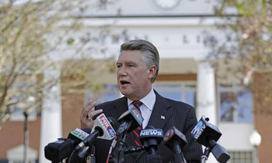 The Republican congressional candidate Mark Harris speaks to the media during a news conference in Matthews, North Carolina. He insists the state board of elections should certify his 905-vote victory.