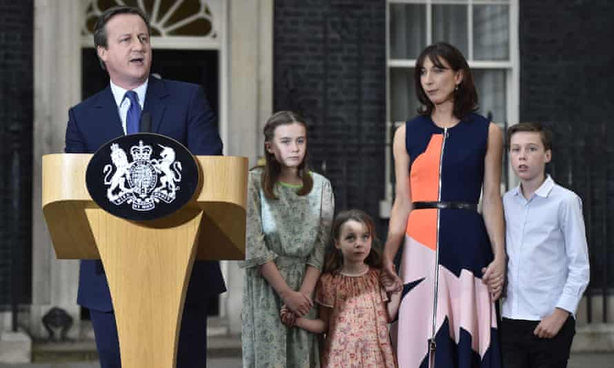 David Cameron with his wife Samantha and their children outside 10 Downing Street