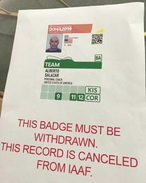 Alberto Salazar has had his accreditation revoked at the world championships in Doha.