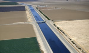 Farm fields along the path of the California aqueduct in the Central Valley, a region that produces a quarter of the nation's food.