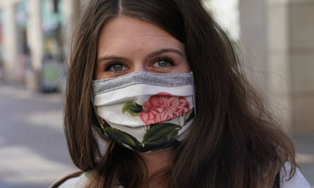 A woman wearing a homemade protective face mask in Leipzig, Germany on 20 April