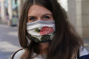A homemade face mask with a floral theme in Leipzig, Germany