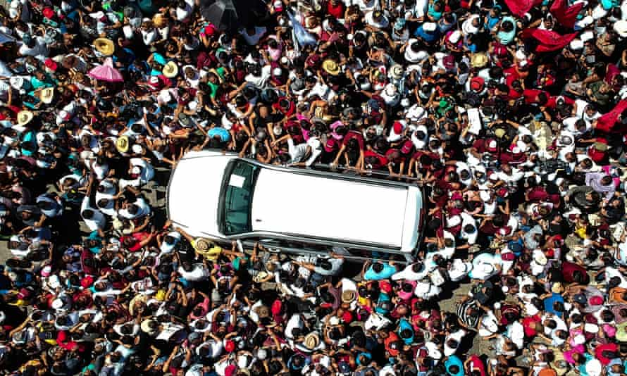 Amlo's car at a campaign event in Guerrero, Mexico on Monday.