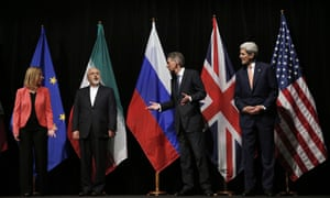 From left: EU foreign policy chief Federica Mogherini, Iranian foreign minister Mohammad Javad Zarif, British foreign secretary Philip Hammond and US secretary of state John Kerry wait for a group picture to be taken in Vienna.
