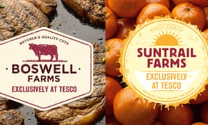 Some branding by rival Tesco that uses fictitious farm names.