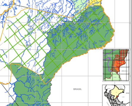 """2009 Pacific map showing the company's interest in operating in part of what is now the Sierra del Divisor National Park, marked in dark green. The light green lines and black and yellow circles are the """"areas of influence"""" of seismic lines and exploratory drilling. Pacific operated in what is now the north of the park in 2012 and 2013."""
