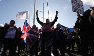 Pro-Brexit demonstrators in Parliament Square.