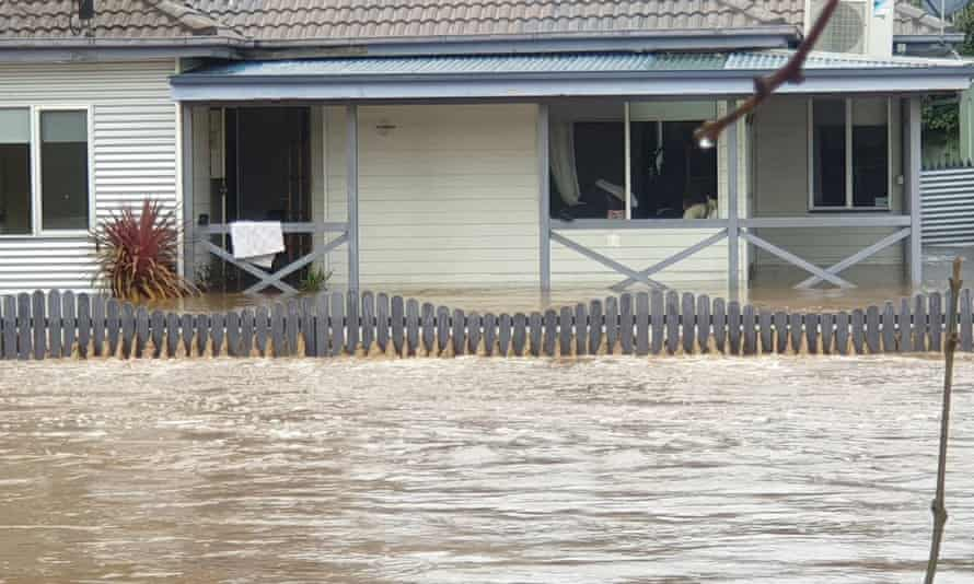 A partially submerged house in the Victorian town of Traralgon. A man died in flood waters in Woodside after wild weather lashed the Gippsland region of Victoria.