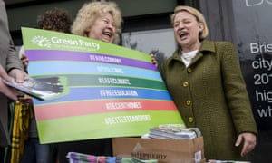 The leader of the Green party, Natalie Bennett, right, visits Bristol