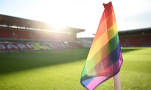 A rainbow flag flies at the corner of Oakwell, the home ground of Barnsley FC, this weekend.