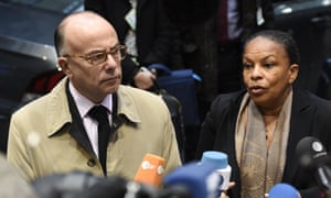 Bernard Cazeneuve and Christiane Taubira at the extraordinary council of Justice and Home Affairs Ministers of the European Union