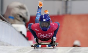 Team GB's Lizzy Yarnold practises in the skeleton in readiness for her event on Friday.