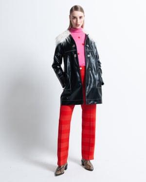 Ava wears roll neck, £99, next.co.uk. Trousers, £189, meandem.com. Vinyl coat, £65, topshop.com. Shoes, £150, dunelondon.com