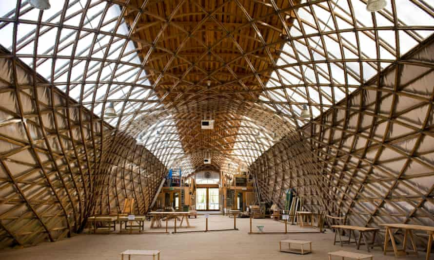 The interior of the Downland Gridshell by Ted Cullinan at the Weald and Downland Living Museum, West Sussex.