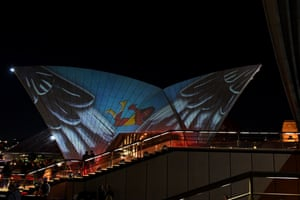 First Nations images are projected onto the sails of the Sydney Opera House during the the launch of Badu Gili: Wonder Women, Sydney, Thursday, April 22, 2021.