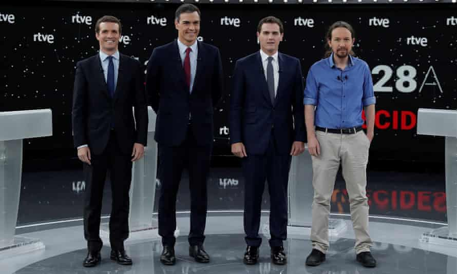 The candidates for Spain's general elections line up for a TV debate: (from left) Pablo Casado, leader of People's party, Pedro Sanchez from the Socialist party (PSOE), Ciutadans (Citizens) political party leader Albert Rivera and Podemos party leader Pablo Iglesias.
