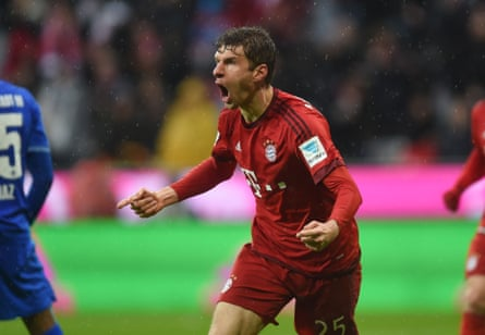 Müller celebrates after scoring for Bayern in last weekend's win over Darmstadt.