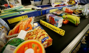 Groceries on the conveyor belt at the checkout of a Lidl supermarket in London