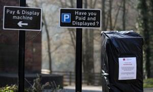 A car park machine closed by a local council