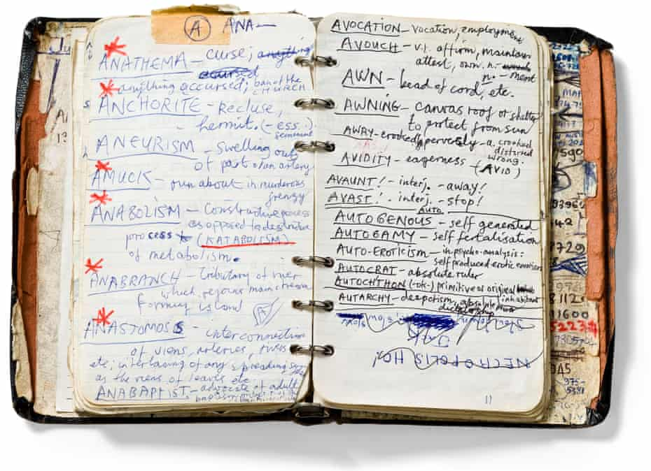 Handwritten dictionary of words by Nick Cave, 1984–85 Gift of Nick Cave, 2006, Australian Performing Arts Collection, Arts Centre Melbourne / Dan Magree Photography