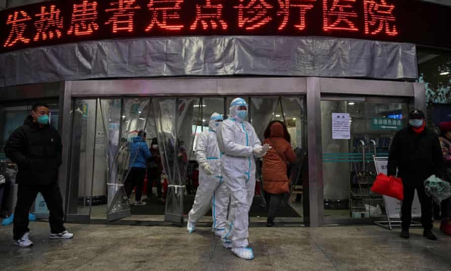 Medics in Wuhan when the coronavirus was spreading in January. A WHO team will try to find the origins of the outbreak.