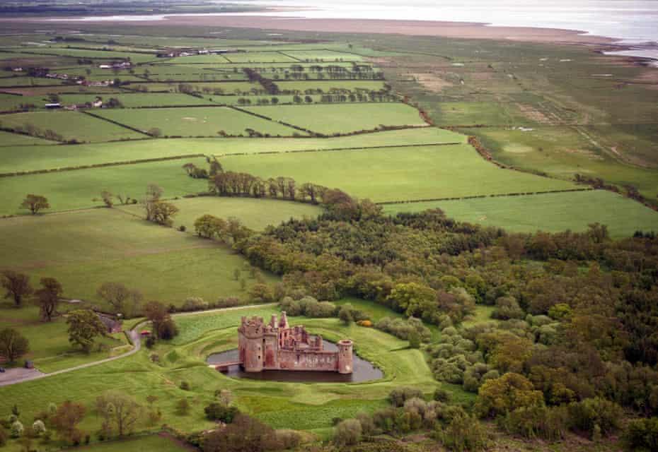 Aerial view of Caerlaverock Caerlaverock Castle, Dumfriesshire, Scotland