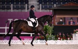 Natasha Baker riding Keystone Dawn Chorus in the Equestrian Dressage Individual Freestyle Test Grade III.