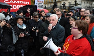 John McDonnell with McDonalds workers during a protest outside Downing Street today.