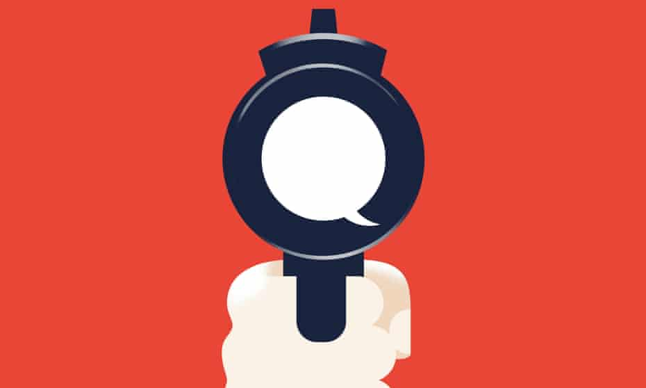 illustration: gun barrel with speech bubble