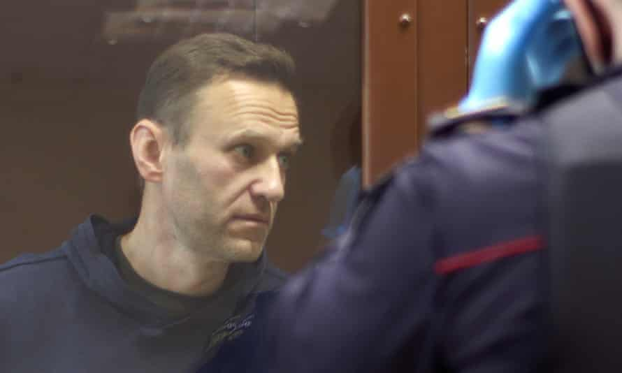 Alexei Navalny attends a court hearing in Moscow