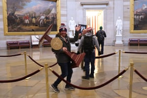 Protesters enter the US Capitol on 6 January 2021 in Washington DC.