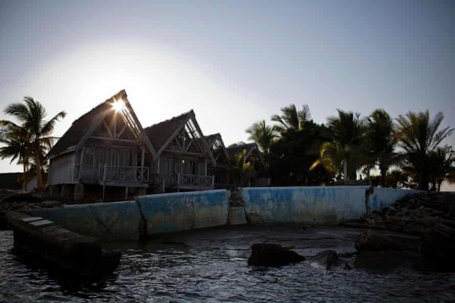 The remains of a hotel and swimming pool that was flooded several years ago by rising sea tides, in Morondava, Madagascar