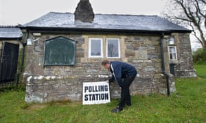 A rural polling station in Stoke Rivers, Devon