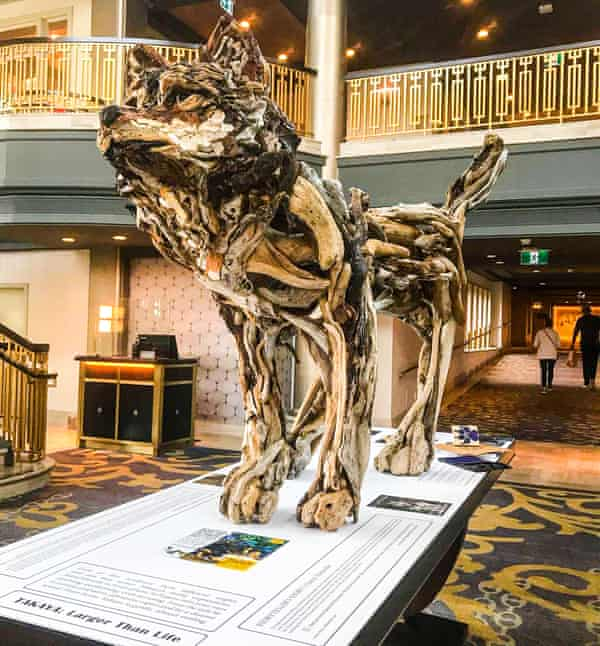 A sculpture of Tayaka by Tanya Bub, one of many artists hoping to preserve the wolf's memory.