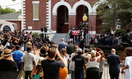 The casket of late John Lewis is carried outside the Brown Chapel AME Church, in Selma, Alabama.