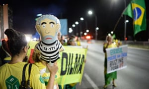 People demonstrate against Dilma Rousseff