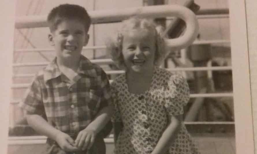 Jenny Gordon aboard the SS Duivendijk in 1950 with a boy she met.