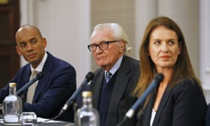 Lord Heseltine (centre) alongside Liberal Democrat candidates Chuka Umunna (left) and Monica Harding (right) at a Lib Dem event in London this afternoon.