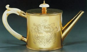 A golden teapot! This one is an exceptionally rare George III Gold Teapot, dated 1786, one of only two English 18th century gold teapots known to exist.
