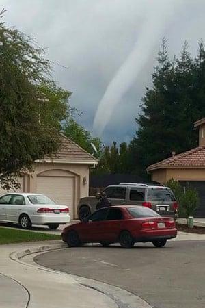 A tornado rips through Denair, California, on Sunday afternoon.