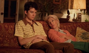With Asa Butterfield on a sofa playing the no-boundaries therapist Jean in Netflix's Sex Education.