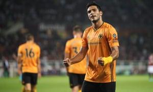 Raul Jiménez celebrates scoring Wolves' third goal in their 3-2 victory at Torino.