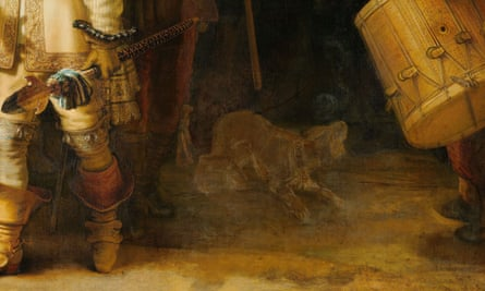 The figure of the dog in the lower right portion of the painting.