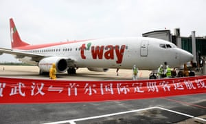 A Boeing 787 airplane operated by T'way Airlines from South Korea's Seoul after arriving in Wuhan on Wednesday.