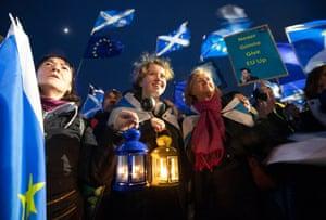 Pro-EU campaigners take part in a 'Missing EU Already' rally outside the Scottish Parliament, Edinburgh