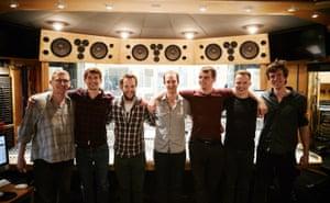 The Tom Green Septet in the studio.
