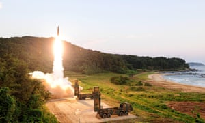 a Hyunmoo-2 missile being launched at an undisclosed location on the east coast of South Korea, 04 September 2017