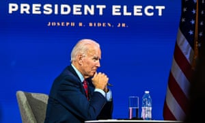 Joe Biden participates in a virtual meeting with the United States Conference of Mayors in Wilmington, Delaware.